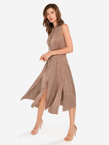 3607dffce90 Платье коричневое в мелкий горошек